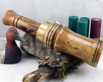 Short Reed goose Call  in  Walnut  With a brass  Band#253