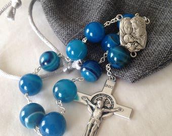 Blue Agate Gemstone Single Decade Roman Catholic Pocket Rosary