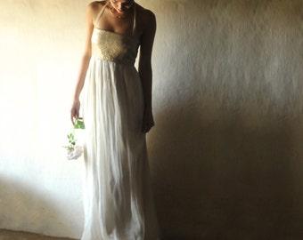 Gold Wedding dress, Sequin wedding dress, Boho wedding dress, Bohemian wedding dress, Simple wedding dress, Alternative wedding dress, long