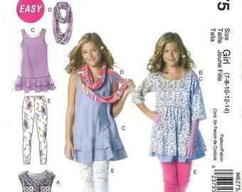 McCalls M6275 Sewing Pattern Girls Dresses Scarf and Leggings sz 7 thru 14 Uncut