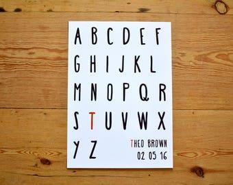 Personalised Alphabet Print / Nursery Personalised Print / Custom Alphabet / A-Z artwork l