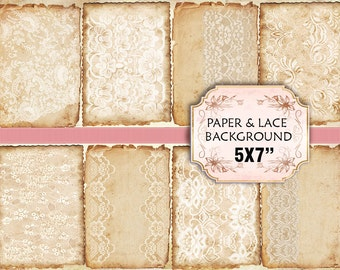 Old paper Lace Vintage Backgrounds Shabby chic paper Scrapbook Decoupage 5x7 inch (373) set of 4 sheets
