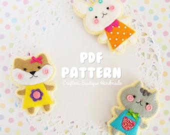 Three Animal Sugar Cookie Charm Tutorial. PDF Pattern. Cat, bunny and dog felt pattern.