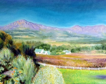 Original Custom Landscape Oil Painting on canvas, from photo, mountain scenery, house, trees, fields, farmland,