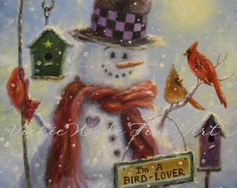 Snowman Art Print, birds, bird lover gift, snowman paintings snowmen prints birds birdhouses cardinals winter wall art, Vickie Wade art
