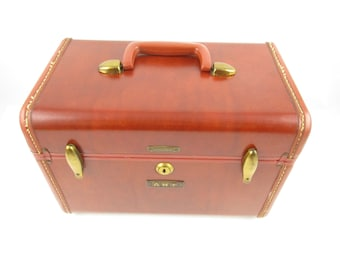 Vintage Samsonite Traincase - Cinnamon Brown - Overnighter - Brass Trim - Traincase - Cosmetic Case - Chic Travel - Handy and Useful