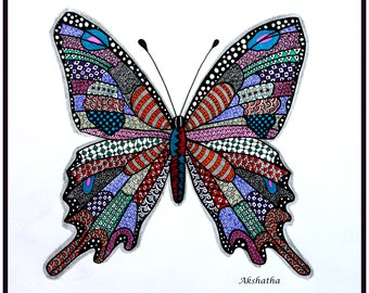 Colorful Butterfly Zentangle Print