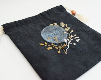 """Embroidered Tarot & Oracle Card Deck Bag """"New Moon"""" // Oracle Card, Spiritual, Pagan, Witch Storage, Divination Tools, Moon Inspired, Magick"""