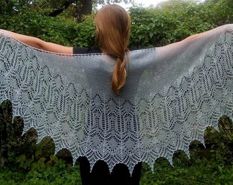 Shawl  lace, knit. Extra soft hand knitted lace shawl Snow Angel. Beautiful marl shawl with alpaca wool and silk, with beads.