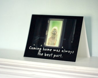 "Note Card Typographic Stationary Adventures of Claudia ""Coming Home Was Always The Best Part"" Antique Doll Card"