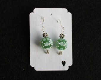 Green and White Lampwork Glass Earrings Sterling Silver