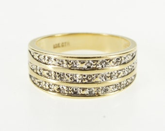 10K Tiered Textured Two Tone Diamond Accent Band Ring Size 7 Yellow Gold