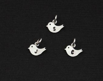 Add On Jewelry Charm, Personalized Custom Initial Silver Bird (one), Add to Any Bracelet or Necklace