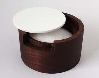 Modern Round Walnut Salt Cellar with White Lid - Dark wood salt cellar
