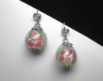 Lampwork Glass Bead Earrings in Silver