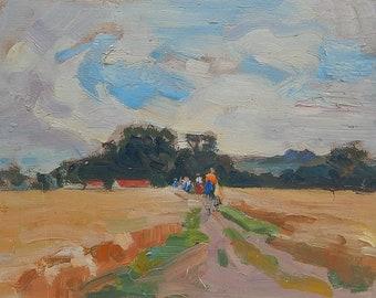 Rural landscape. Oil painting on cardboard. Ukrainian Art. Size 35 x 48 cm. (5336)