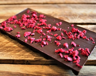 Chocolate Bar - Handmade Dark Chocolate bar with Raspberry & Mint - artisan chocolate, made in Yorkshire