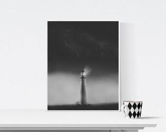 Black and white lighthouse photography, Coastal landscape, Printable Art, Minimalist Art, Printable Wall Decor, Gray Print, lighthouse print
