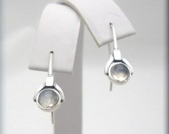 White Moonstone Earrings, Sterling Silver, Gemstone Earrings, Gem Stone, Dangle, Drop, Simple, Everyday, Minimalist, Gemstone
