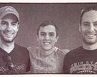 Custom knitted portrait of three brothers including twins from your photo