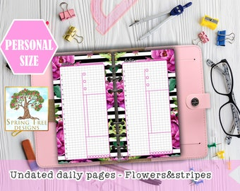 FILOFAX PERSONAL flowery undated daily pages,Personal size daily planner,Day on 1 page,Printable daily view,Filofax planner,Day on one page