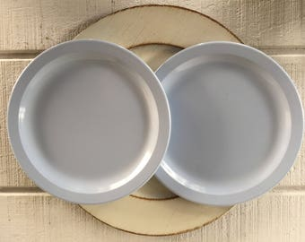 2 Vintage pastel blue 1950 Texasware plates luncheon plates mid century melmac luncheon plates, melamine texas ware dishes, pastel baby blue