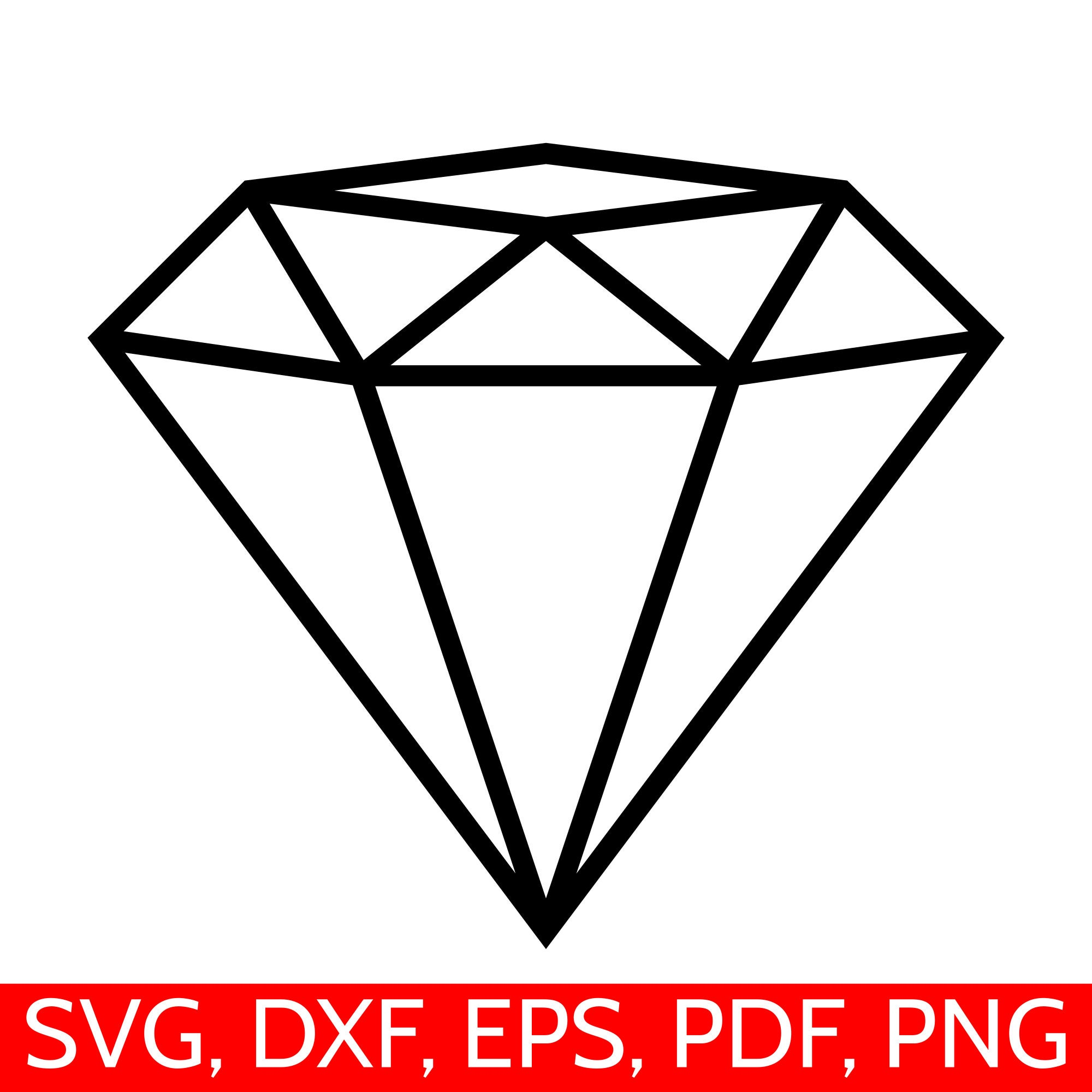 Diamond Outline Svg Cut File For Cricut And Silhouette To