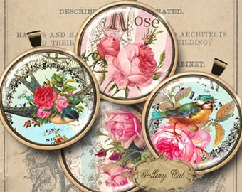 GARDEN PARADISE Digital Collage Sheet 2 Inch Circles for Jewelry Pendants Labels Magnets Paper Crafts Vintage Roses Birds GalleryCat CS213