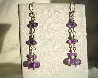Amethyst Rondelles Dangly Earrings