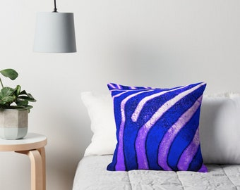 Throw Pillow Sham Cover Abstract Zebra Stripes Psychedelic Purple couch decorative bedroom pillowcase indoor outdoor accent pillow zipper