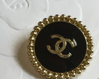 2 Chanel Black Enamel Gold CC Metal Buttons, 23 mm