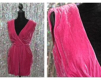 90's Racheal Roy Vintage Fuchsia Velvet Dress (0)