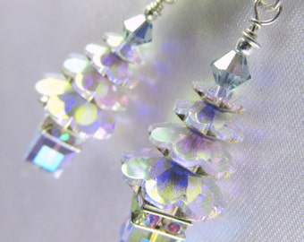 Holiday Christmas Tree Earrings in Swarovski Lavender Transmission and Crystal Aurora Borealis on sterling silver