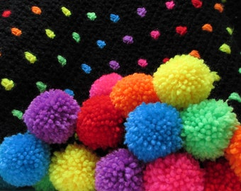 crochet throw - crochet blanket kit - rainbow blanket - crochet pattern - crochet afghan - crochet gift - teen room decor - teenage bedroom