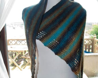 Handknitted Shawl in Autumn Colours