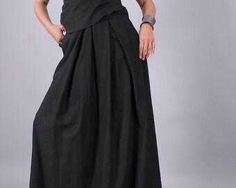 Long Skirt, Floor length skirt, Black long linen skirt, maxi skirt, long skirt by UrbanMood - CO-NARA-LN