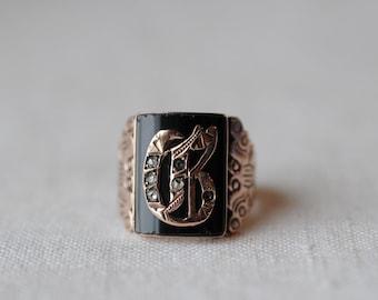 Antique 14KT Rose Gold Signet Ring, G Signet Ring, Victorian, Edwardian, Size 9, Mens Signet Ring, Onyx, Diamond Chips, PK148