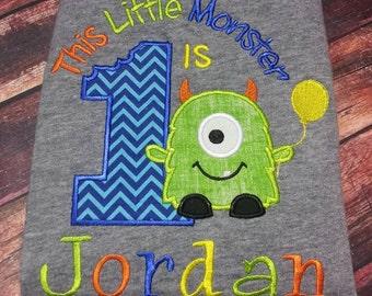 Monster Birthday Shirt, monster 1st birthday shirt, Embroidered monster shirt
