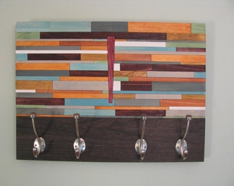"wood wall art - ""MEDITERRANEAN"" - wooden coat rack, wooden wall art , unique modern wood art, modern coat rack"