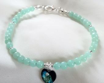 Bracelet - Heart Bracelet - Crystal Heart Bracelet - Bermuda Blue Heart Bracelet - Swarovski Crystal  Heart Bracelet -