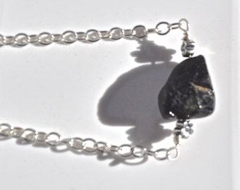 All Natural Black Spinel Sterling Silver Bracelet