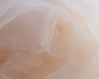 Champagne Pastel Peach Fine Tulle fabric 300cm wide - sold by the metre - net suitable for underskirt, pleating & ruching UK SELLER (F2)
