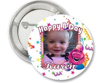 Custom Birthday Photo Pinback Button-3.5 inches- Any Character or theme-1