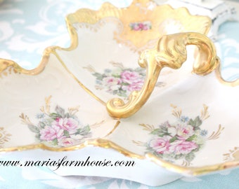 TIMELESS BEAUTY, Antique, Porcelain, Hand Painted Divided Dish with Handle by Royal Crown, Marie Antoinette Inspired, Wedding Gift