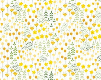 Meadows on White, Camelot Fabrics, Alisse Courter, fabric by the yard, yellow flowers, medallion fabric, summer fabric, buds, roses