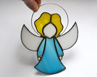 Cute Little Angel, Turquoise Blue Angel Ornament, Guardian Angel Gift, Stained Glass Angel Decoration, Remembrance Angel, Memorial Angel