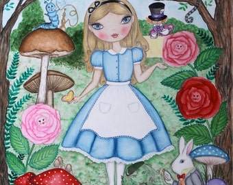 Alice in Wonderland painting. Gift for women her. Whimsical Alice watercolor Original Art. White rabbit, Cheshire cat art. Girls room art.