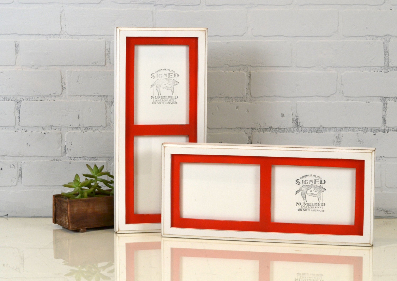 Multiple Opening Frame Diptych for (2) 5x7 Photos in Vintage Red and ...