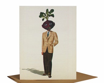 Beet Man, Father's Day Card, Best Man Card, Whimsical Note Card, Quirky Greeting Card, Vintage Collage Art, Hipster Dad, Retro Greeting Card