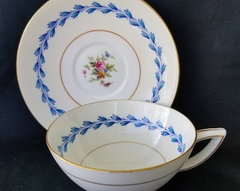 Mintons Teacup and Saucer Gold Trimmed Blue Flowers